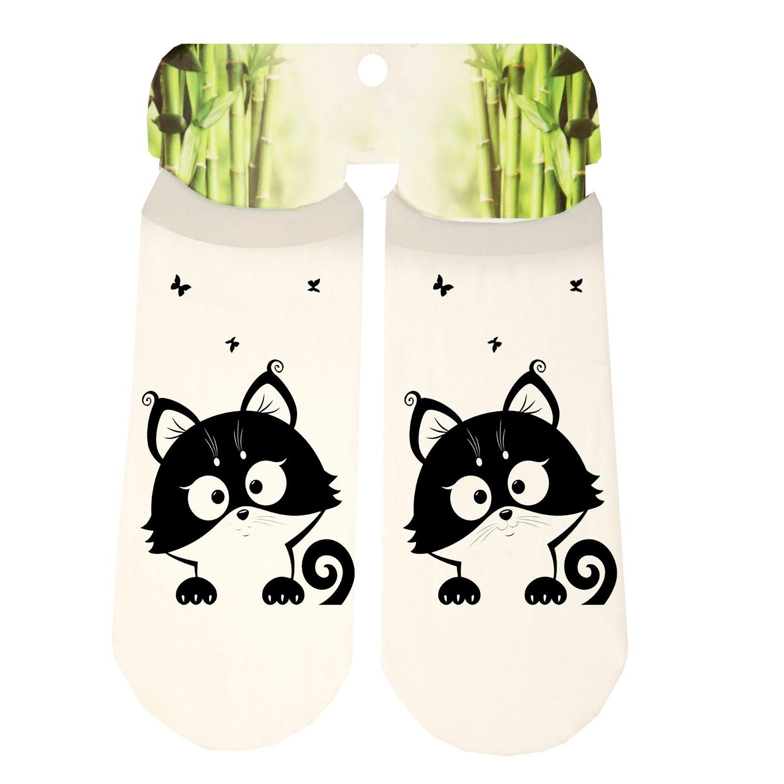 جوراب دخترانه طرح گربه کد SCb43 -  - 3