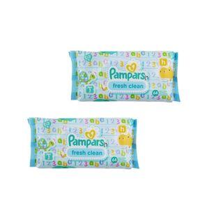 دستمال مرطوب کودک پمپرز مدل Pampars fresh clean بسته 64 عددی مجموعه 2 عددی