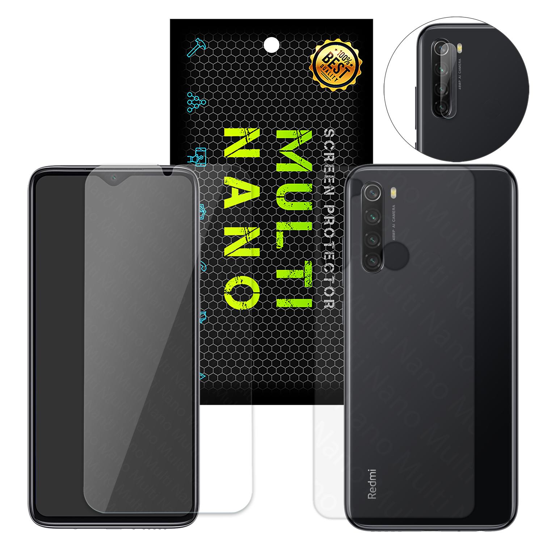 محافظ صفحه نمایش و پشت گوشی مولتی نانو مدل Pro مناسب برای گوشی موبایل شیائومی Redmi Note 8 به همراه محافظ لنز دوربین