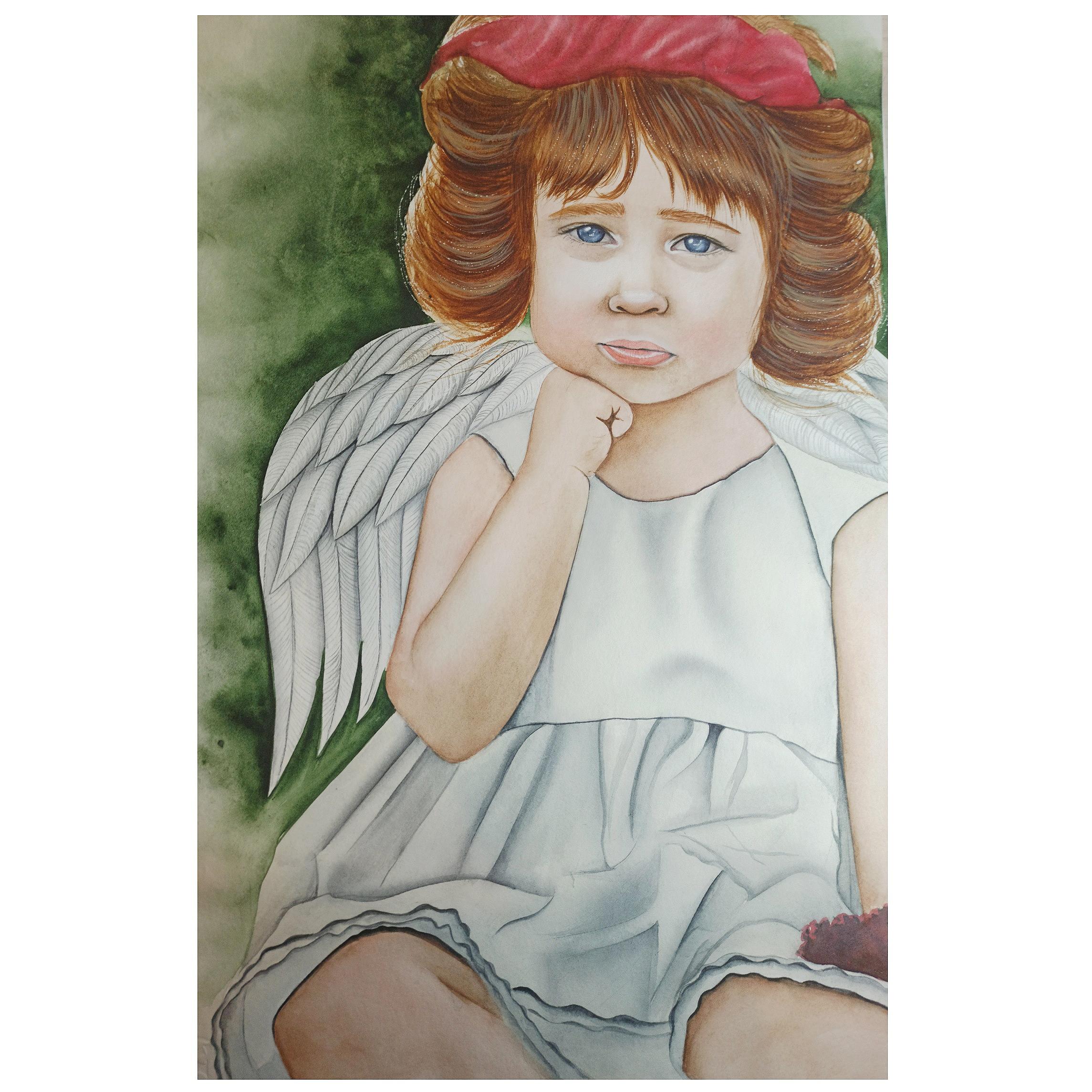 تابلو نقاشی آبرنگ مدل فرشته کوچک