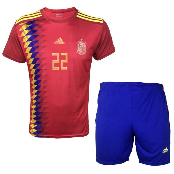 ست پیراهن و شورت ورزشی مردانه ای آر اسپورت طرح تیم ملی اسپانیا مدل ایسکو کد 01