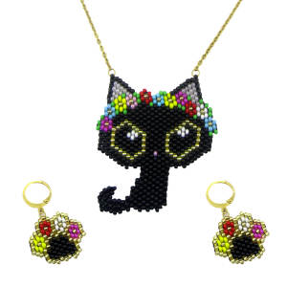 نیم ست دخترانه طرح گربه و پنجه کد A200-593