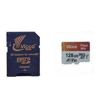 کارت حافظه microSDXC ویکومن مدل 600X Plus کلاس 10 استاندارد UHS-I U3 سرعت 90MBps ظرفیت 128 گیگابایت به همراه آداپتور SD