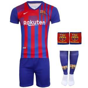 ست 4 تکه لباس ورزشی پسرانه طرح بارسلونا مدل مسی 2022 کد home