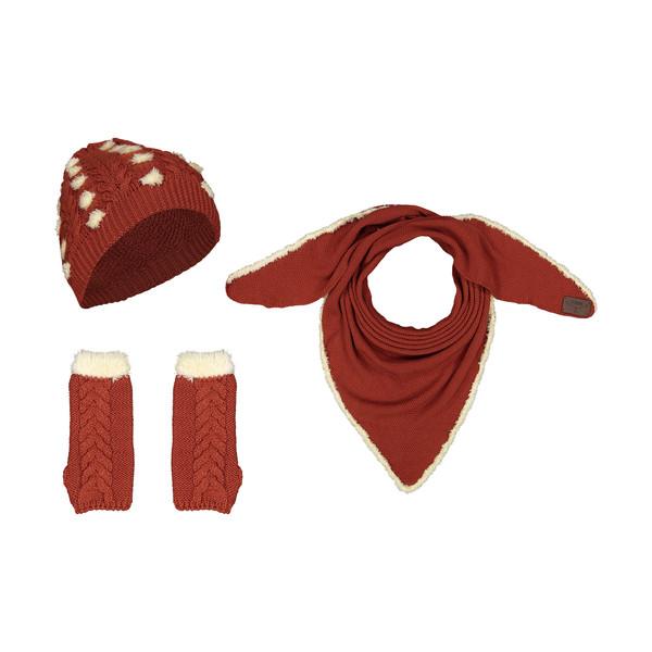 ست کلاه و شال گردن و دستکش بافتنی زنانه رویا مدل 15043-61