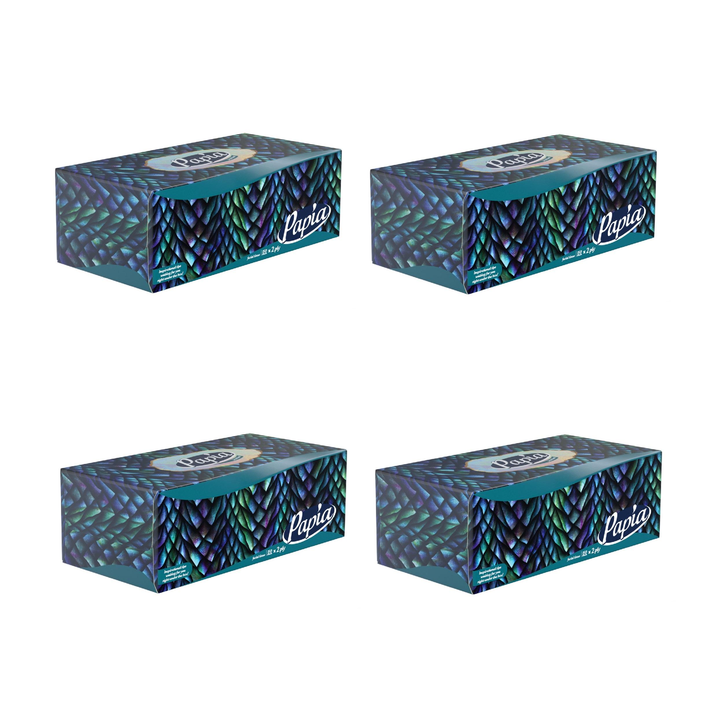دستمال کاغذی 150 برگ پاپیا مدل دراگون بسته 4 عددی