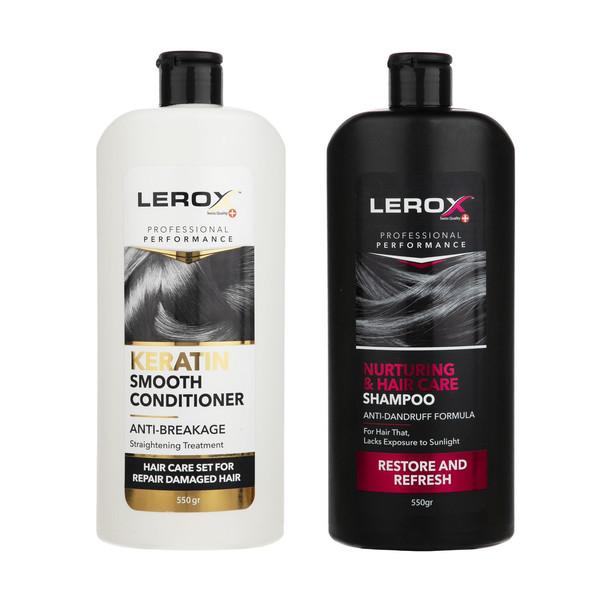 شامپو مو لروکس مدل banovan حجم 550 میلی لیتر به همراه نرم کننده مو لروکس مدل keratin حجم 550 میلی لیتر