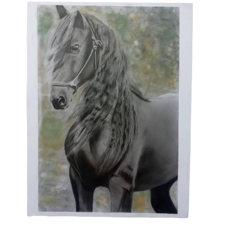تابلو سیاه قلم طرح اسب مدل ۱۰۰۱۴
