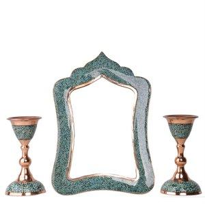 ست 3 تکه آینه و شمعدان فیروزه کوبی هنرلوکس مدل زیور کد S1