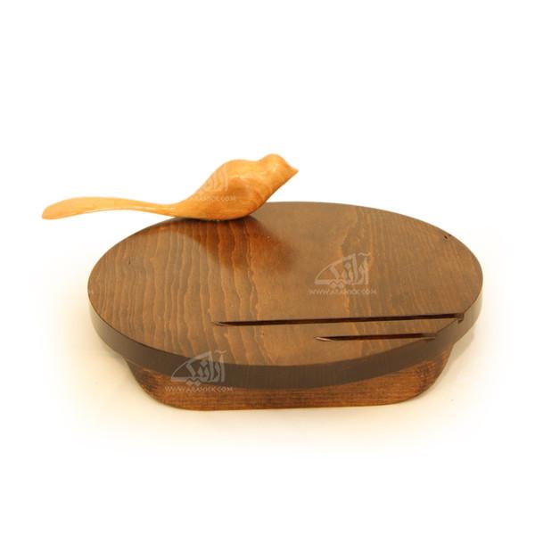تخته سرو آرانیک گرد تراش چوب رنگ قهوه ای طرح پرنده مدل 1009600010