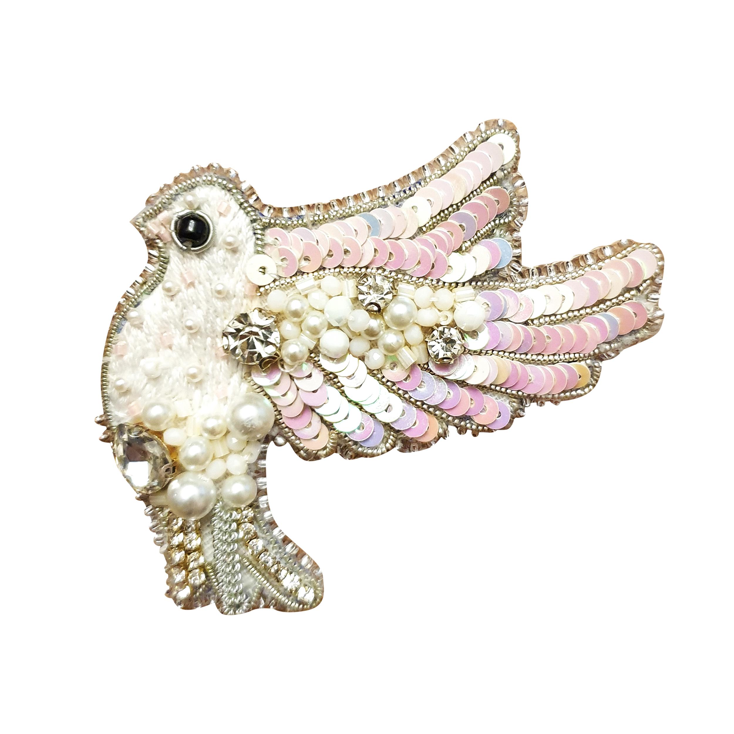 گل سینه زنانه طرح کبوتر مدل 768