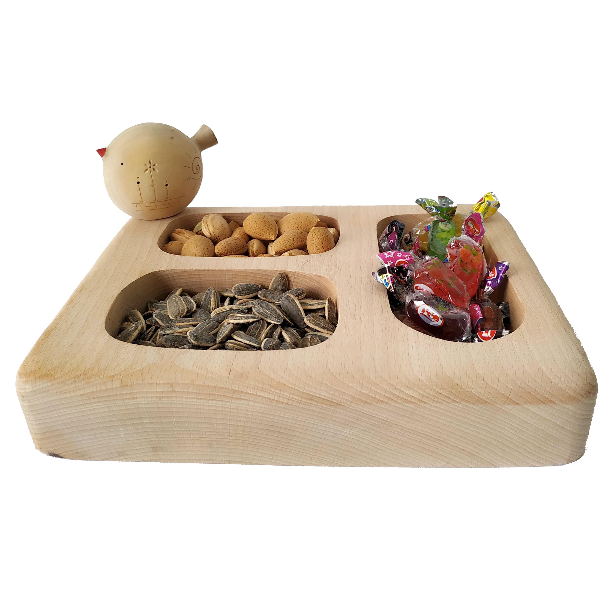خرید                      ظرف چوبی مدل پرنده کد 12