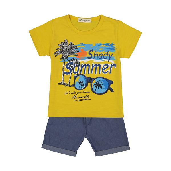 ست تی شرت و شلوارک پسرانه بی کی مدل 2211250-16