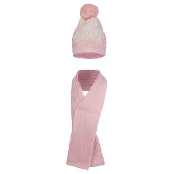 ست کلاه و شال گردن بافتنی دخترانه قاصدک مدل KS-03