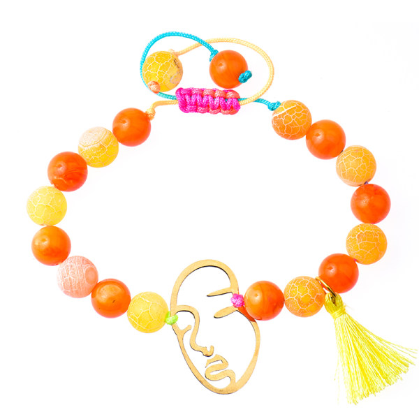 دستبند طلا 18 عیار دخترانه کرابو طرح چهره مدل Krd1017