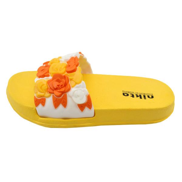دمپایی دخترانه مدل گل کد 04-397 رنگ زرد