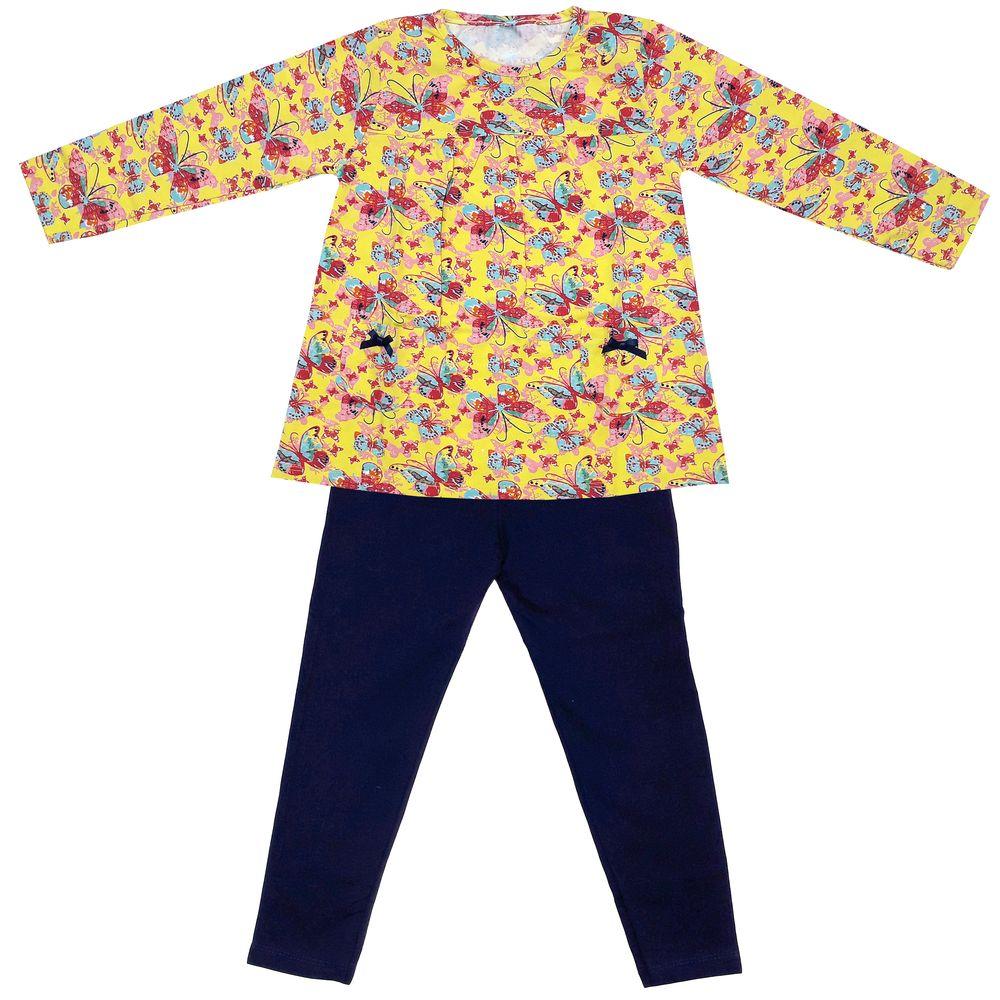 ست تی شرت و شلوار دخترانه طرح پروانه کد 3071 رنگ زرد