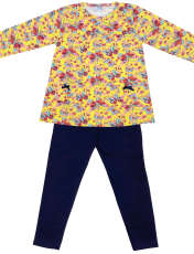 ست تی شرت و شلوار دخترانه طرح پروانه کد 3071 رنگ زرد -  - 1