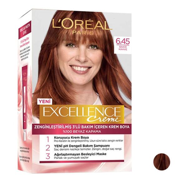 کیت رنگ مو لورآل مدل Excellence شماره 6.45 حجم 48 میلی لیتر رنگ قهوه ای