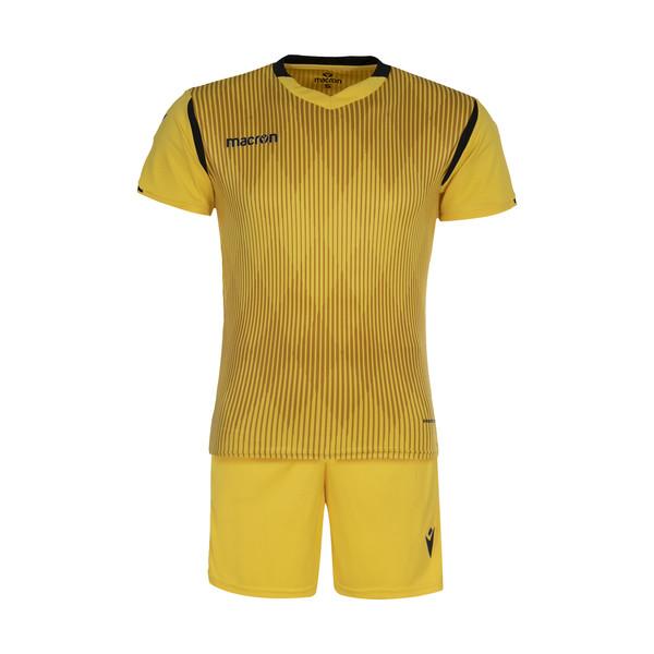 ست تی شرت و شلوارک ورزشی مردانه مکرون مدل فارست رنگ زرد