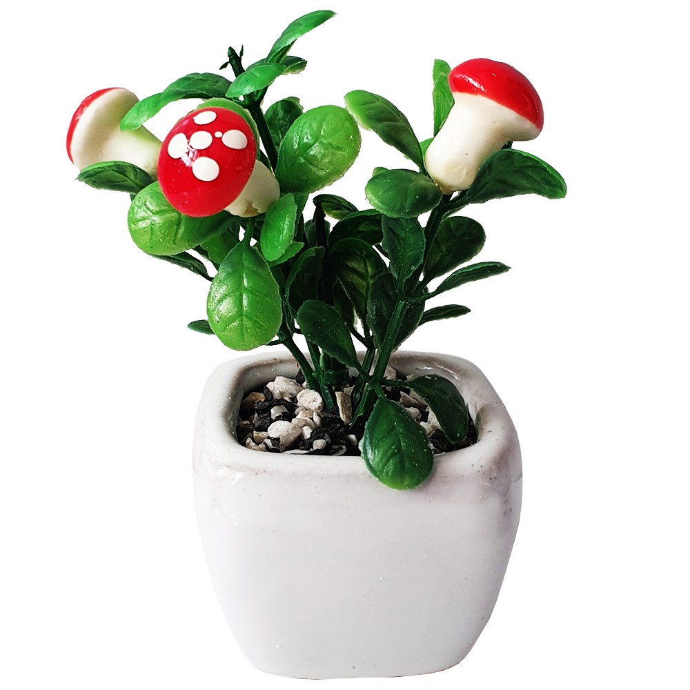 گلدان به همراه گل مصنوعی طرح قارچ مدل 030