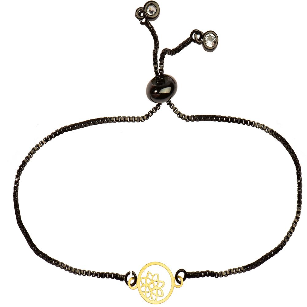 دستبند طلا 18 عیار دخترانه کرابو طرح گل و ستاره مدل Krd1152