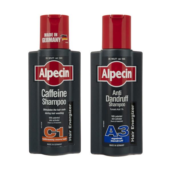 شامپو مو آلپسین مدل Caffeine C1 حجم 250 به همرا شامپو ضد شوره مدل A3 Anti Dandruff حجم 250 میلی لیتر