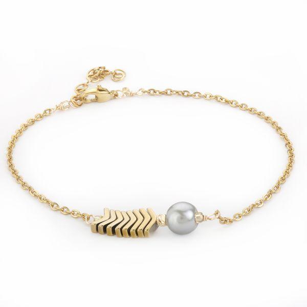 دستبند طلا 18 عیار زنانه طرح مروارید مدل SGH114