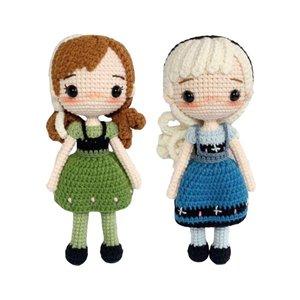 عروسک بافتنی طرح السا و آنا مجموعه ۲ عددی