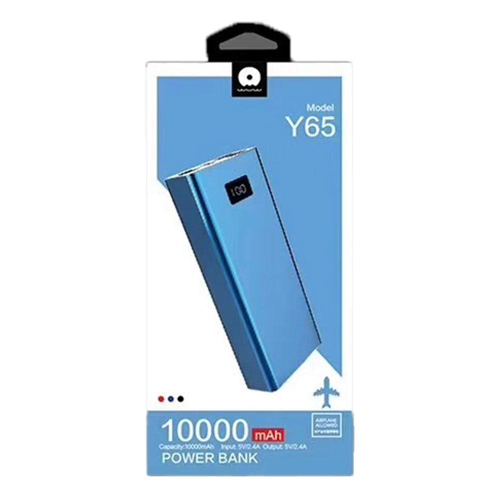 شارژر همراه دبلیو یو دبلیو مدل  Y65 ظرفیت 10000 میلی آمپر ساعت