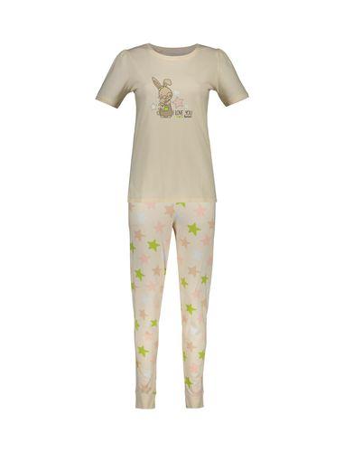 تی شرت و شلوار نخی زنانه طرح خرگوش و ستاره