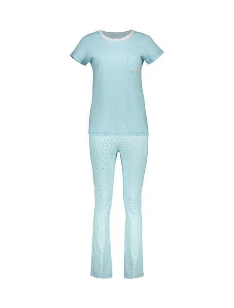 تی شرت و شلوار راحتی نخی زنانه پرک سه گل - ناربن - فيروزه اي - 1