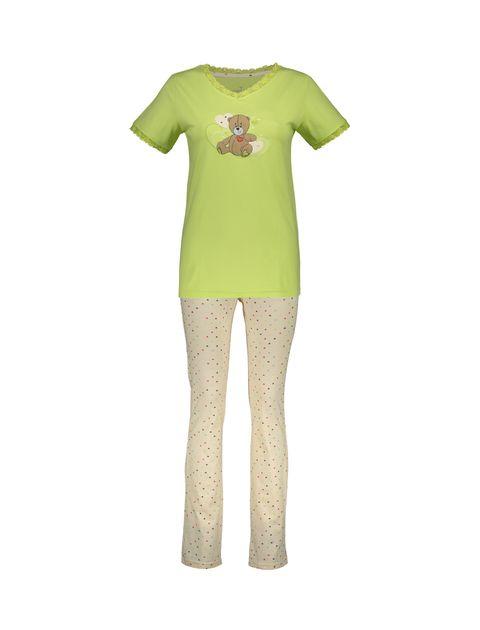 تی شرت و شلوار نخی زنانه خرس مهربان - سبز - 10