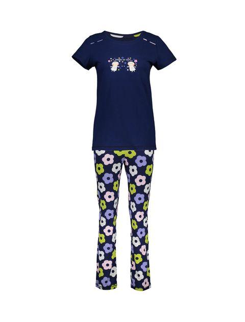 تی شرت و شلوار نخی زنانه - سرمه اي - 1