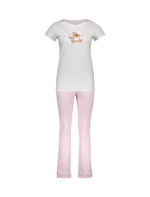 تی شرت و شلوار نخی زنانه طرح خرس خالدار - ناربن - صورتي - 1