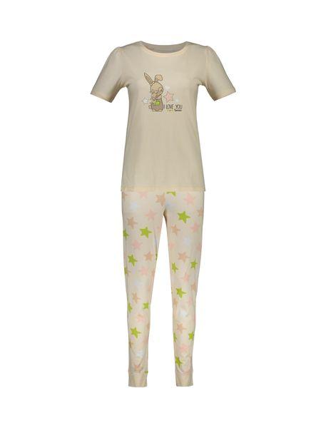 تی شرت و شلوار نخی زنانه طرح خرگوش و ستاره - گلبهي - 10