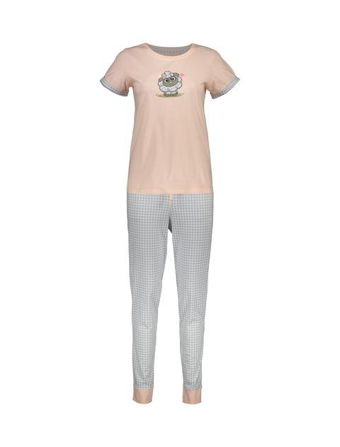تی شرت و شلوار نخی زنانه طرح بره چهار خانه - ناربن - گلبهي - 1