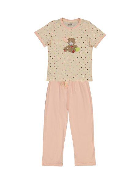 تی شرت و شلوار نخی دخترانه خرس مهربان - گلبهي - 1