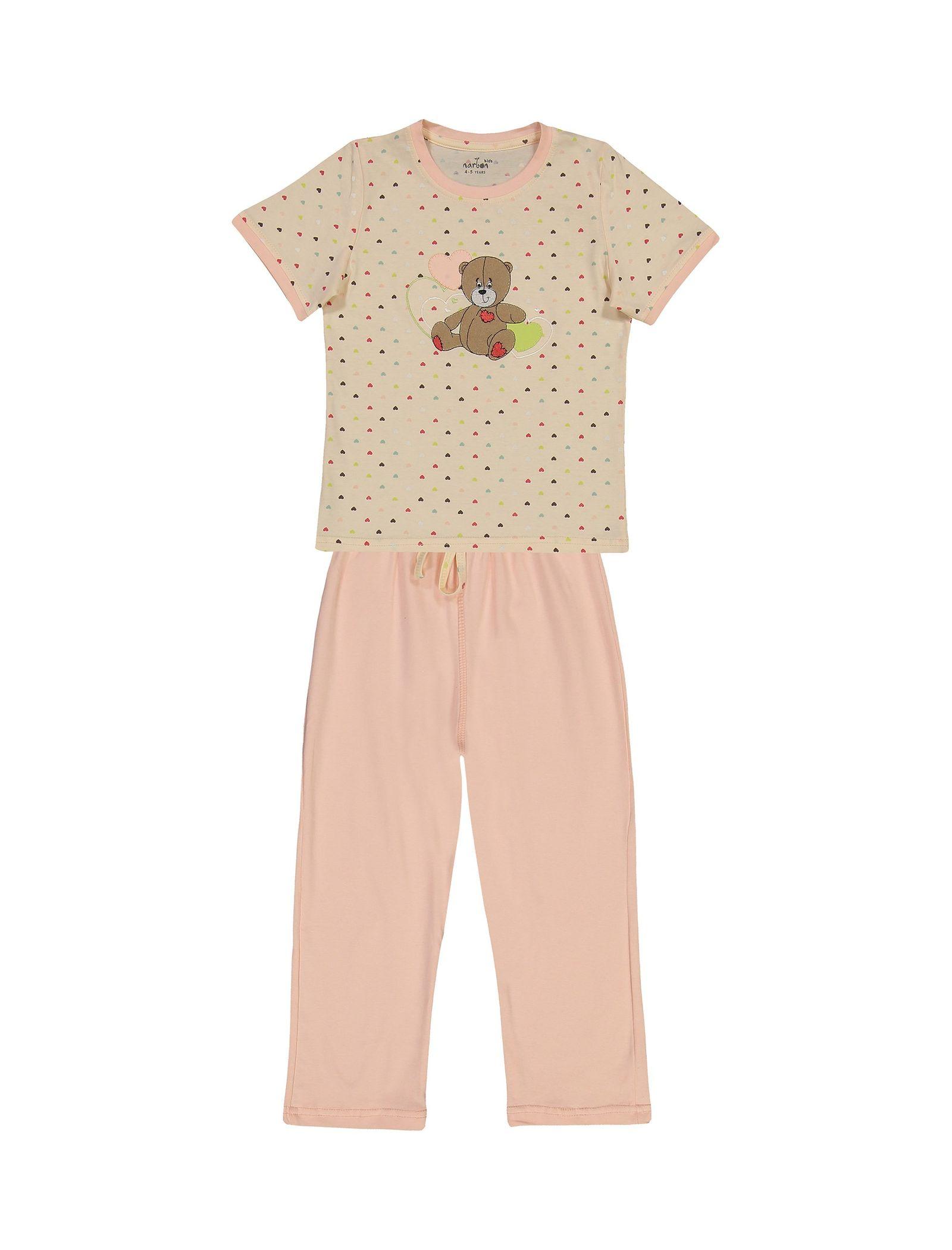 تی شرت و شلوار نخی دخترانه خرس مهربان - ناربن - گلبهي - 1