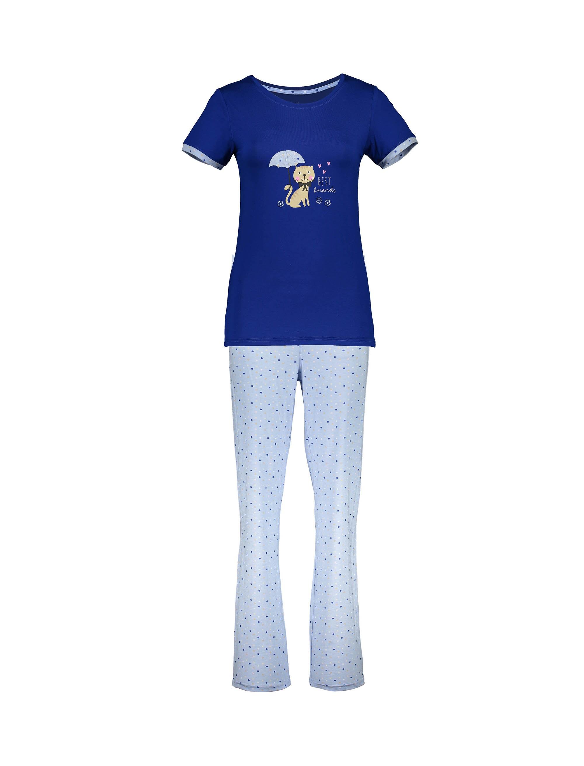 تی شرت و شلوار نخی زنانه - آبي - 1