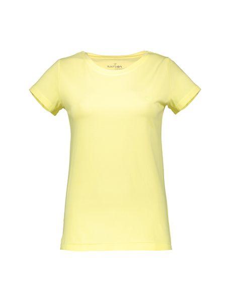 تی شرت نخی یقه گرد زنانه - زرد - 1