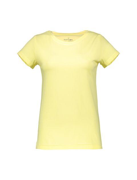 تی شرت نخی یقه گرد زنانه - ناربن - زرد - 1