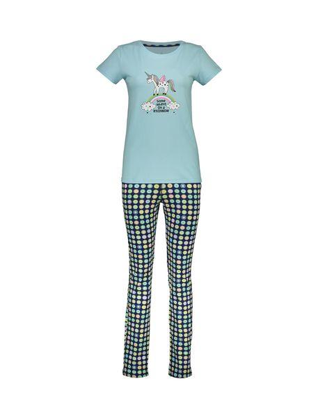 تی شرت و شلوار نخی زنانه - آبي روشن - 1