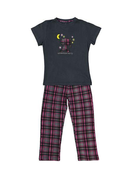 تی شرت و شلوار نخی بچگانه هیربد 1231 - زغالي - 1