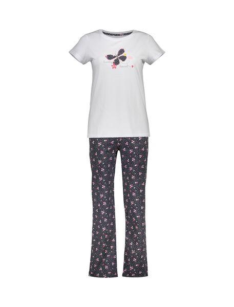 تی شرت و شلوار راحتی نخی زنانه بهنوش - سفيد/زغالي - 1