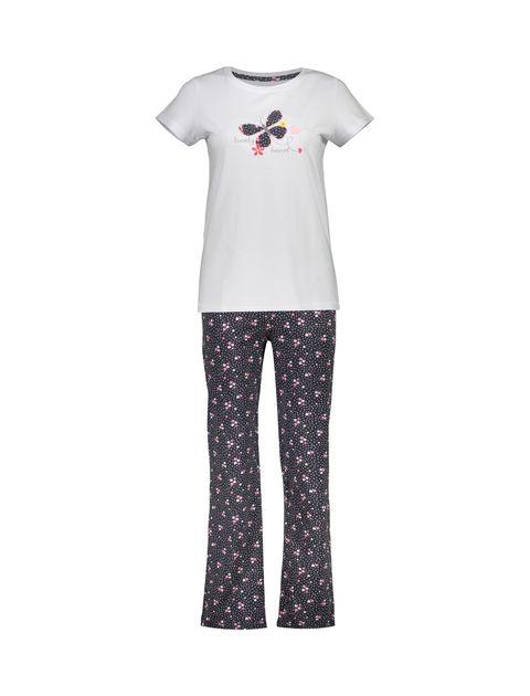 تی شرت و شلوار راحتی نخی زنانه بهنوش - ناربن - سفيد/زغالي - 1