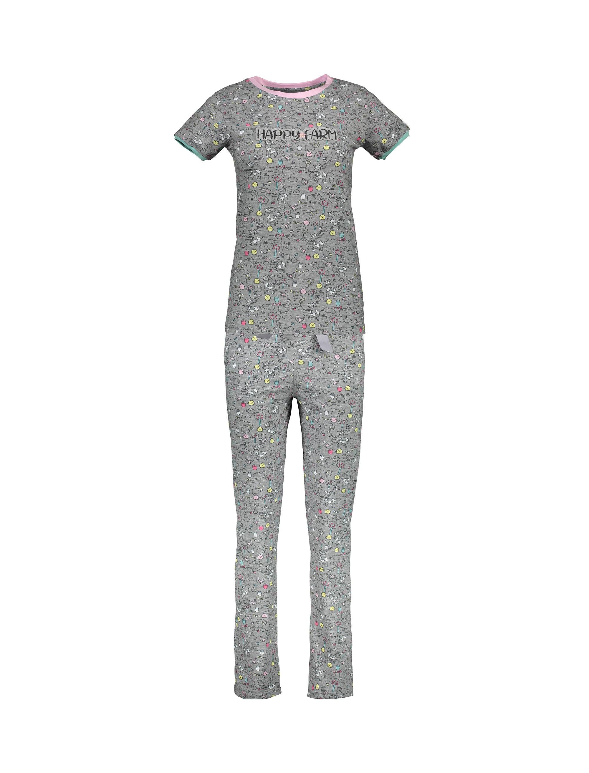 تی شرت و شلوار نخی زنانه مدل مزرعه شاد - طوسي - 1