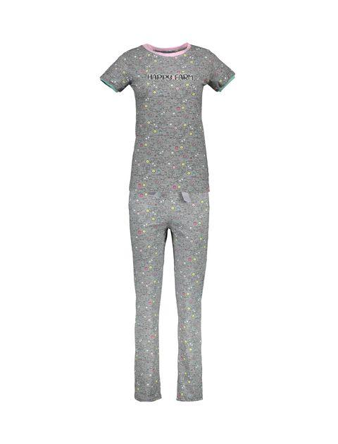تی شرت و شلوار نخی زنانه مدل مزرعه شاد - ناربن - طوسي - 1