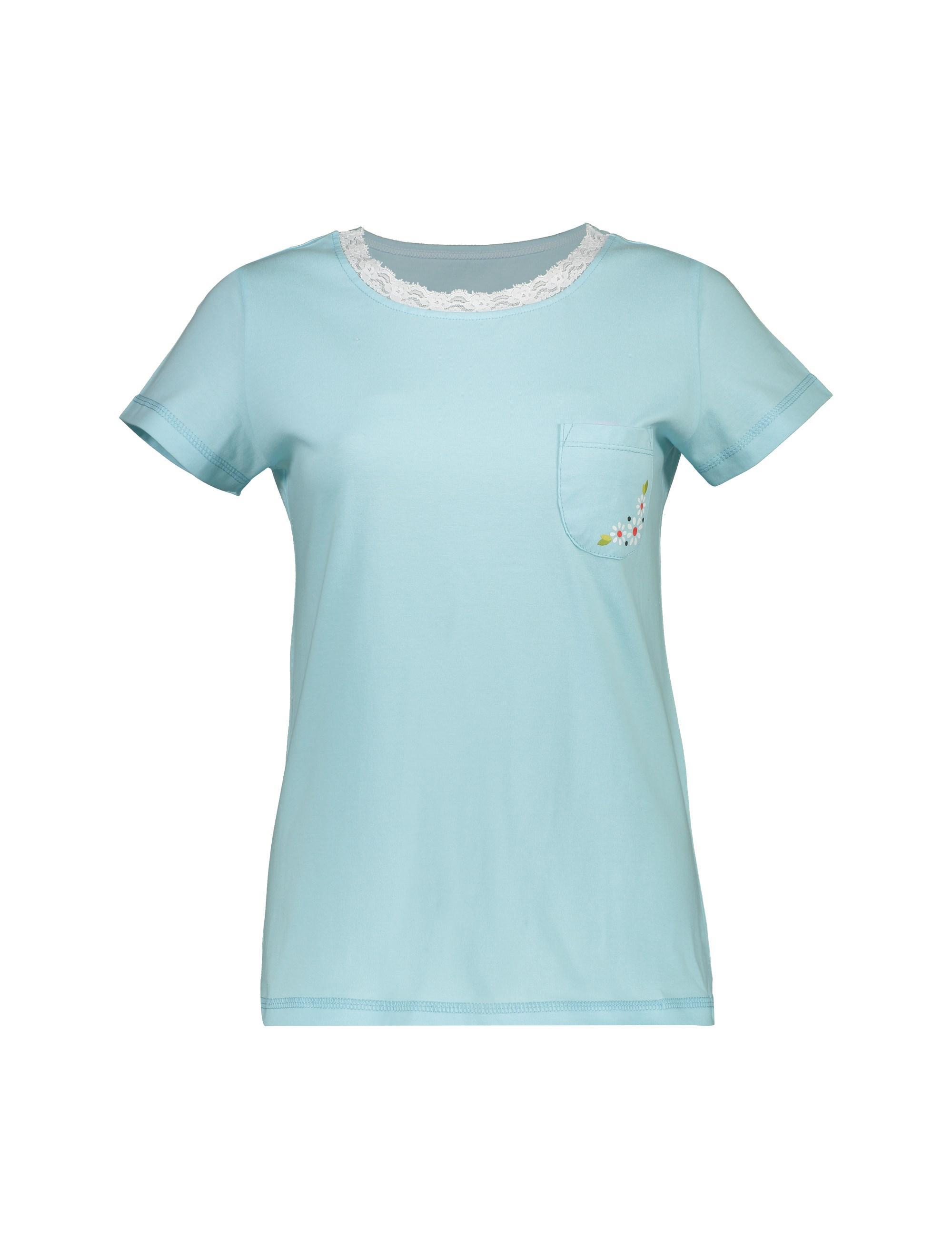 تی شرت و شلوار راحتی نخی زنانه پرک سه گل - فيروزه اي - 2