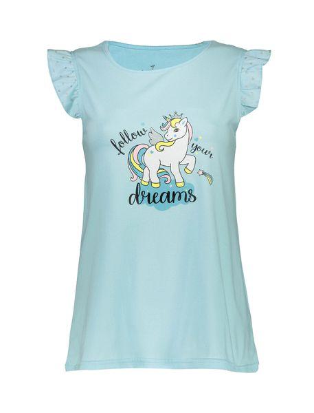 تی شرت و شلوارک نخی زنانه - آبي روشن - 2